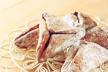Hamantaschen cookies or hamans ears Purim celebration (jewish holiday) Stock Photo