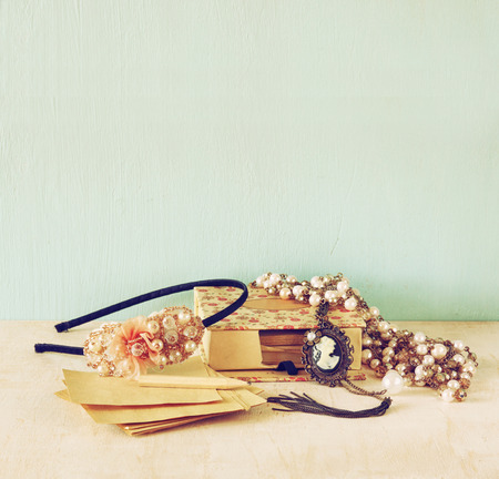 weeding: A collection of romantic vintage jewelry. retro filtered image. room for text