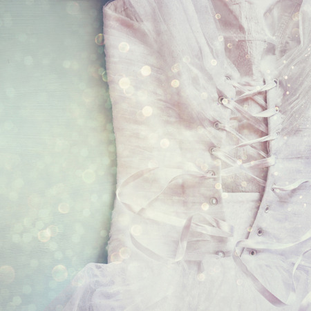 tulle: Vintage wedding dress corset background with glitter overlay. wedding concept. filtered image