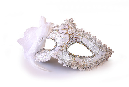 teatro mascara: blanco glamour máscara de Carnaval aislado en blanco