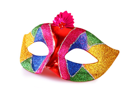antifaz carnaval: colorida m�scara de Carnaval aislado en blanco Foto de archivo