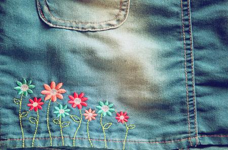 denim skirt: Detail of blue jeans skirt