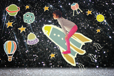 Photo of cute kid imagine spachip flight. image withe set of infographics over glittery background