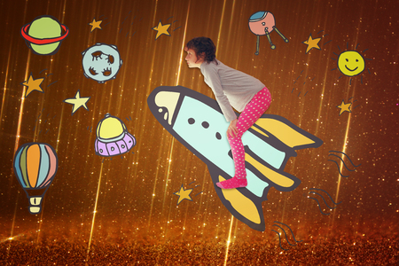 withe: Photo of cute kid imagine spachip flight. image withe set of infographics over glittery background