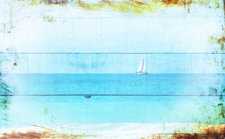 wallpaper image: Double exposure image of sailboat at horizon on the sea and wooden planks background, vintage filter and texture overlay.