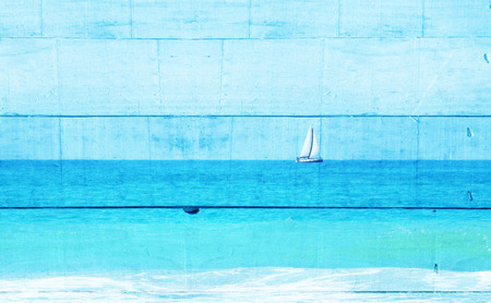 Double exposure image of sailboat at horizon on the sea and wooden planks background, vintage filter.