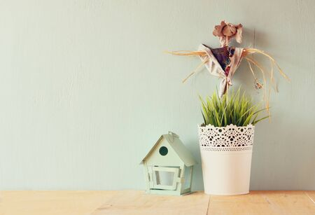 country life: vintage Flower pot and Scarecrow against mint wall