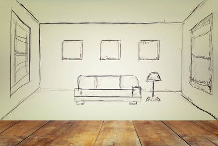 modern interior room: front view of wooden floor and room interior sketch