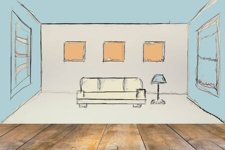 front room: front view of wooden floor and room interior sketch