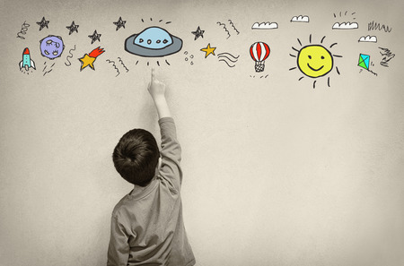 to imagine: Photo of cute kid imagine space ship fantasy. set of infographics over texured wall background