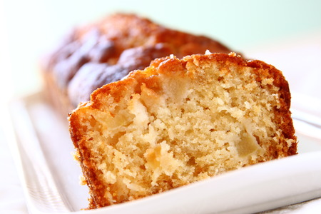 homemade apple cake with on white background photo