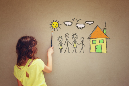 happy family at home: Photo of cute kid imagine a happy family. set of infographics over textured wall background