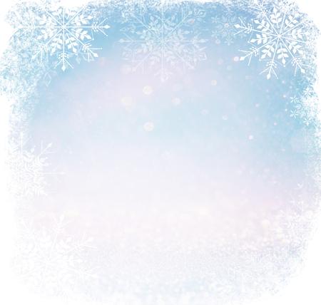 wit en zilver abstract bokeh lichten. onscherpe achtergrond met sneeuwvlok overlay Stockfoto
