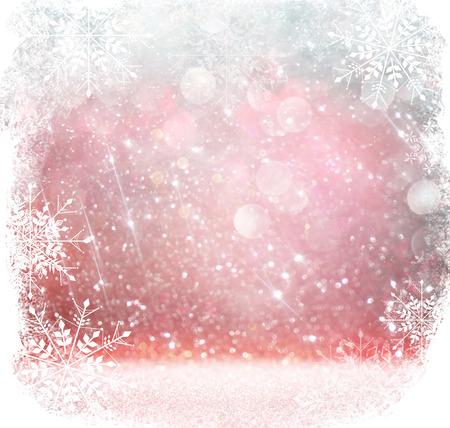schneeflocke: Weiß, Rot und Silber abstrakten Bokeh Lichter. different Hintergrund mit Schneeflocke-Overlay Lizenzfreie Bilder