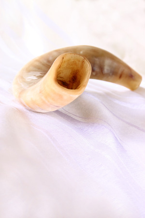 yom: shofar horn on white prayer talit. rosh hashanah jewish holiday concept . traditional holiday symbol.