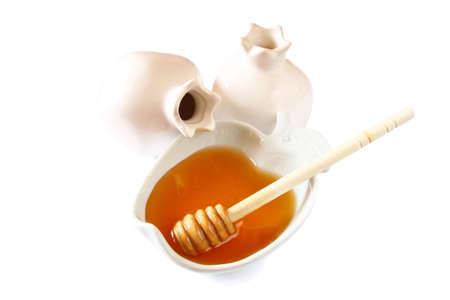 tova: image of honey glass jar. rosh hashanah jewish holiday concept. traditional holiday symbols. isolated on white