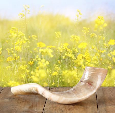 holiday symbol: corno shofar su tavola di legno. Rosh Hashanah concetto di vacanza ebraica. simbolo di vacanza tradizionale. Archivio Fotografico