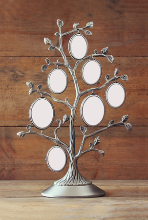 legacy: Image of vintage antique classical frame of family tree on wooden table Stock Photo