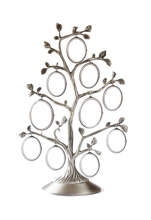 Image of vintage antique classical frame of family tree isolated on white Foto de archivo