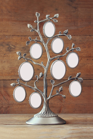 family tree: Image of vintage antique classical frame of family tree on wooden table Stock Photo