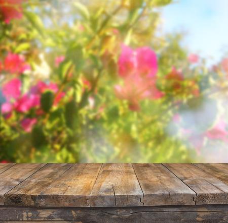 trompo de madera: wood board table in front of summer landscape of flower bloom Foto de archivo
