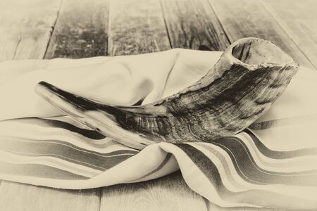 jewish culture: shofar horn on white prayer talit. room for text. rosh hashanah jewish holiday concept . traditional holiday symbol.