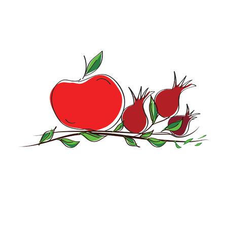 rosh: rosh hashanah vector concept - apple and pomegranates