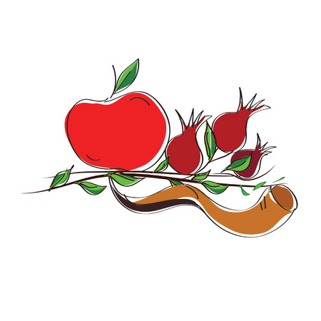 shofar: rosh hashanah vector concept - apple, shofar horn and pomegranate isolated on white