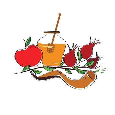 shofar: Rosh Hashanah vettore concetto - mela, corno shofar e melograno isolato su bianco