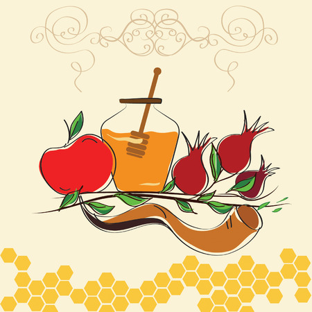 shofar: rosh hashanah vector concept - apple, shofar horn and pomegranate