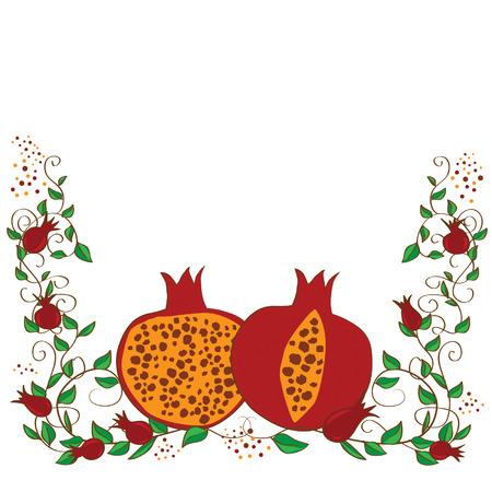 rosh: rosh hashanah vector concept - pomegranate