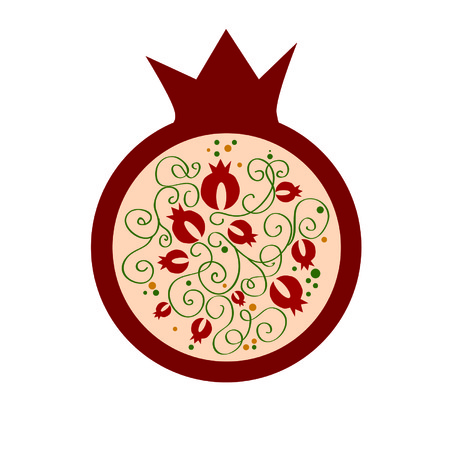shana tova: decorative vector pomegranate