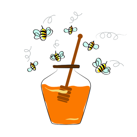 ha: vector concept - jar with honey and flying bees. isolated on white