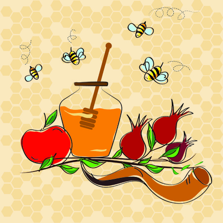 holiday symbol: rosh hashanah jewish holiday vector concept - apple, shofar horn and pomegranate. traditional holiday symbol.