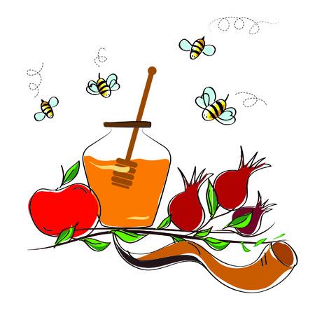 shofar: Rosh Hashanah ebreo vacanza vettore concetto - mela, corno shofar e melograno. simbolo di vacanza tradizionale. Vettoriali
