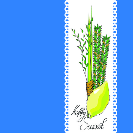 sukkoth: sukkot - four symbols of Jewish holiday Sukkot species - etrog, willow, palm, myrtle. vector illustration.