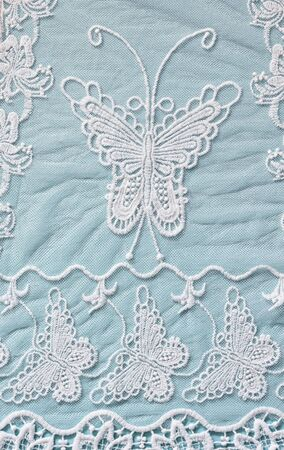 white wedding: top view of vintage hand made beautiful lace fabric Stock Photo