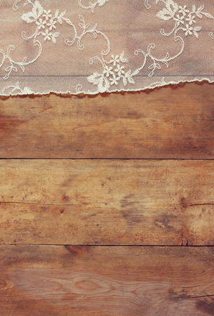 top view of vintage hand made beautiful lace fabric Stock Photo - 44055999