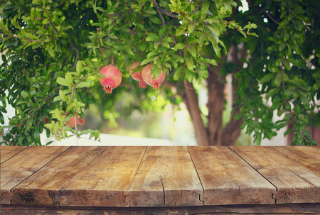 front view: vintage wooden board table in front of dreamy pomegranate tree landscape. retro filtered image Stock Photo