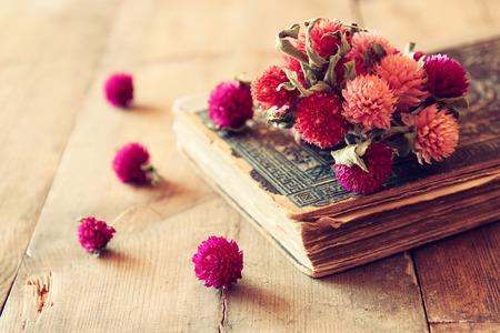 libros antiguos: Imagen de concentración selectiva de flores secas, collar antiguo y libros antiguos de la vendimia en la mesa de madera. imagen filtrada retro