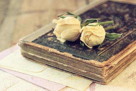 femme romantique: l'image de mise au point sélective de rose sèche et de vieux livres anciens sur la table en bois. rétro image filtrée Banque d'images