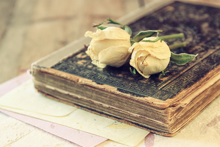 old writing: selective focus image of dry rose and old vintage books on wooden table. retro filtered image