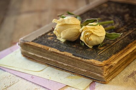 writing desk: selective focus image of dry rose and old vintage books on wooden table. retro filtered image