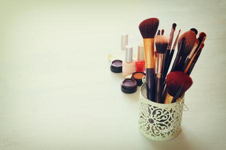 set up: Vintage Make Up set. filtered image. Stock Photo