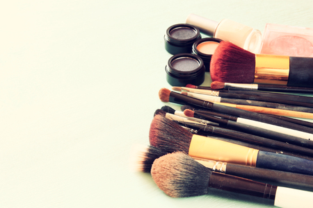 filtered: Vintage Make Up set. filtered image. Stock Photo