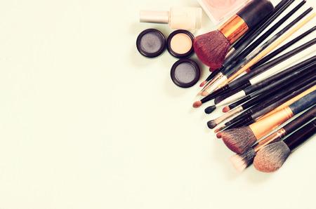 Vintage Make Up set. filtered image. Stock Photo
