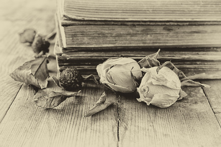 rustic: selective focus image of dry rose, antique necklace and old vintage books on wooden table. retro filtered image Stock Photo