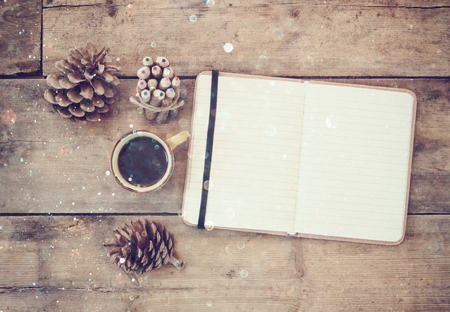 vintage objects: top image of open notebook with blank pages, next to pine cones and cup of coffee over wooden table. top image, glitter overly