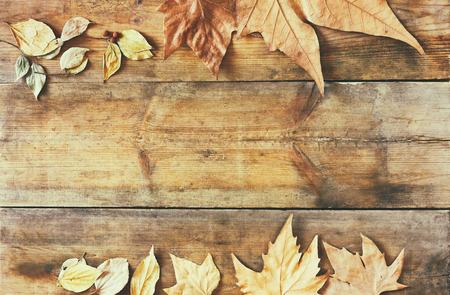 Autumn: tapa de la vista de las hojas de otoño sobre fondo de madera con textura