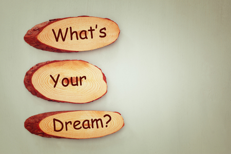 self awareness: wooden signs with the phrase whats your dream. room for text
